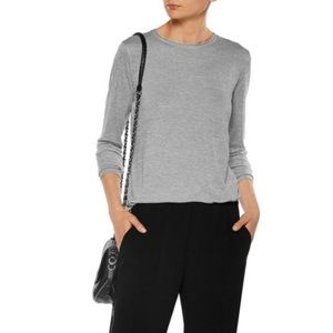 Vince Stretch Jersey Long Sleeve Relaxed Tee Shirt